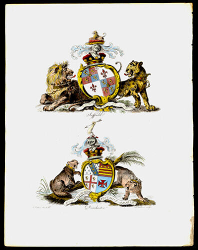 Suffield & Dorchester 1790  Catton Lithograph British Heraldry Coat of Arms