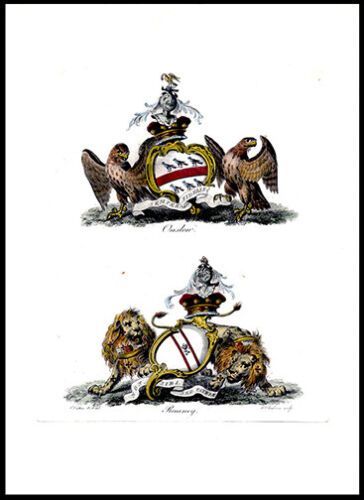 Onslon & Romney 1790 Charles Catton Lithograph British Heraldry Coat of Arms
