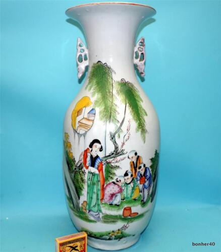 CHINESE EXPORT PORCELAIN ANTIQUE QING REPUBLIC FAMILLE ROSE LADY`S POEMS VASE
