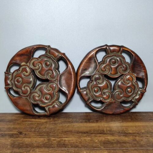 """5"""" Collect Ancient Chinese Dynasty Palace Huali Wood Moire Vase Base Statue Pair"""