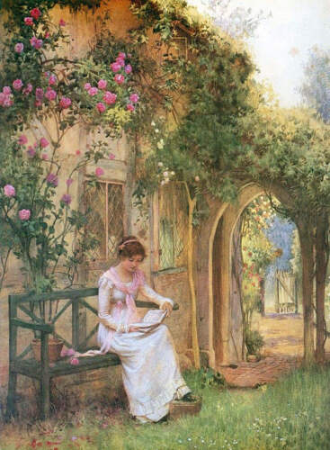 Lady Reading on Garden Bench by William Affleck
