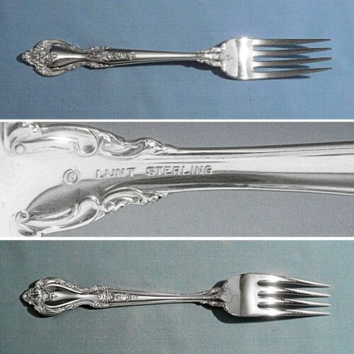 "LUNT STERLING 7 1/2"" DINNER FORK ~ DELACOURT ~ NO MONO"