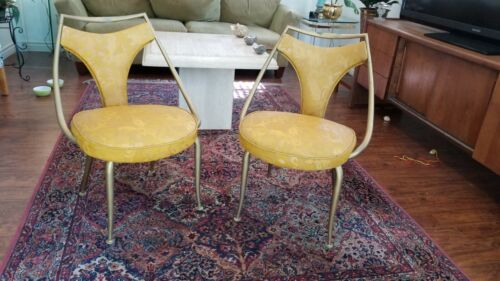 Set of Two Virtue Brothers Mid-Century Kitchen Arm Chairs Gold Vinyl Made in CA!