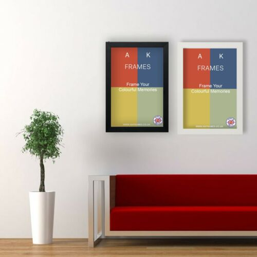 BLACK Picture Frames Square WHITE Photo Modern Poster Frame A1 A2 A3 A4 A5  <br/> Fast & Free Delivery-Quick Dispatch-All sizes-UK Made