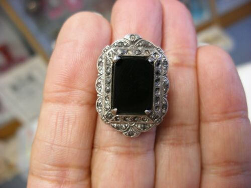 Antique Art Deco Filigree Sterling Silver Onyx & Marcasite Ring Size 5 1/4 #1046