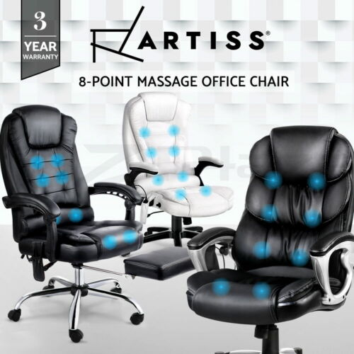 Artiss Massage Office Chair Gaming Chair Heated 8 Point Vibration Recliner <br/> 3-Year Warranty / Quality Material / Optional Footrest