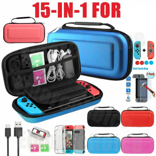 For Nintendo Switch Case Storage Travel Bag+Screen Protectors+Cover Accessories