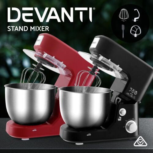 Devanti Electric Stand Mixer Kitchen Food Beater Cake Aid Whisk Bowl Hook <br/> ✔Bonus-Spatula✔1000W high power✔3 speeds