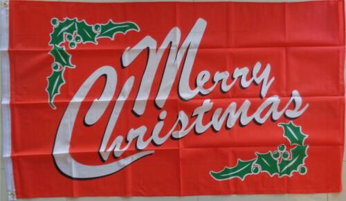Merry Christmas Flag Large Red Holly Flag   AUSPOST REGISTERED TRACKING