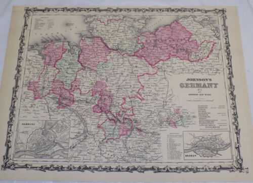 1863 COLOR Map/THREE MAPS OF PARTS OF GERMANY, BY JOHNSON AND WARD