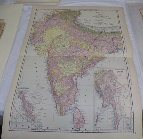 1898 Antique COLOR Map  ///  INDIA AND CEYLON