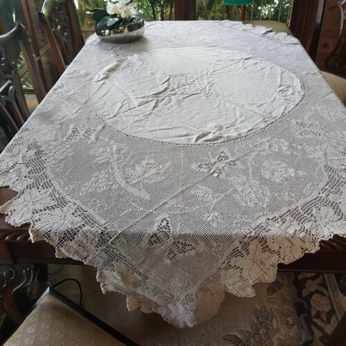 Antique 1915 Rare Cream Mary Card Filet Crochet Grapevine Butterfly Tablecloth
