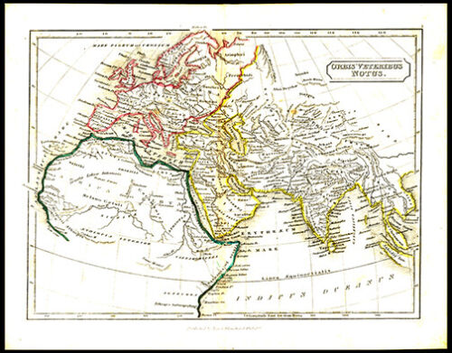 Ancient World as It Was Known Rome 1855 Original Samuel Butler Lithograph Map