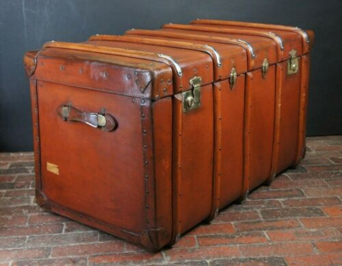 Magnificent Large Full Leather Antique English Banded Travel Trunk