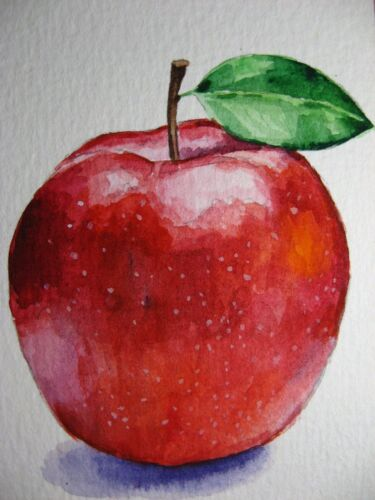 Watercolor Painting Red Apple Fruit Food Farm ACEO Art