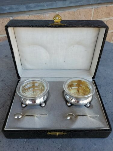 Continental 800 Silver & Glass Set Salts Spoons Boxed c. 1900