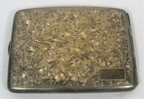 ANTIQUE .950 SILVER HAND CHASED CIGARETTE CURVED CASE