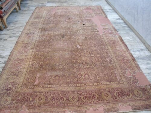 """An Antique Palace Size burgundy Ground Worn Out Mahal Rug 'Boho Chic"""" distressed"""