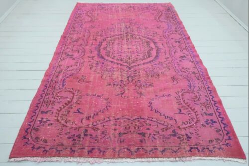 """Vintage Carpet, Pink Color Overdyed Rug, Area Rugs, Candy Color Carpet 67""""x104"""""""