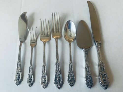 Wallace Sterling Rose Point 7 Pieces Forks Spoon Knife Spreader 10 Oz No Monos