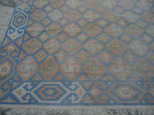 1920s vintage cotton dhurrie India flatweave handmade  muted blue rust 9x12ft