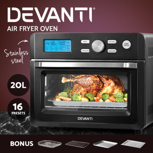 Devanti 20L Air Fryer Convection Oven Oil Free Fryers Kitchen Cooker Accessories <br/> ✔20L Capacity ✔Stainless Steel ✔LCD Display ✔1600W
