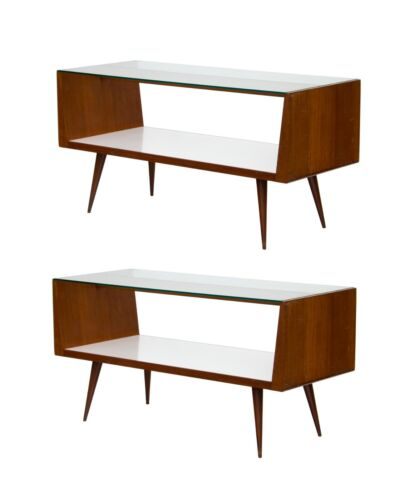 Pair of Midcentury Modern Walnut and Glass Display Cases Store Fixtures MCM