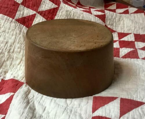"""Nice ANTIQUE Wood Millinery Hat Block ~ Form~Flat Top~6 7/8"""""""