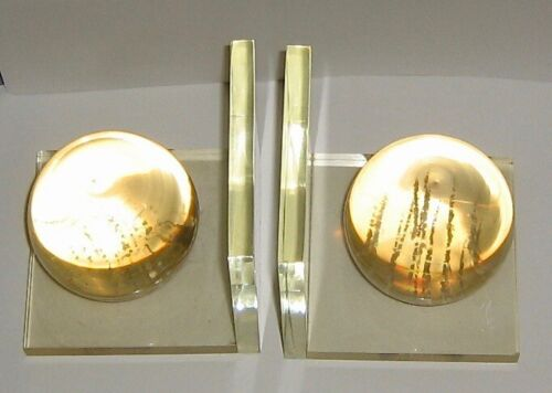 VINTAGE ITALIAN MID CENTURY MODERN CLEAR LUCITE SPHERE BOOK ENDS - 60's - RARE!