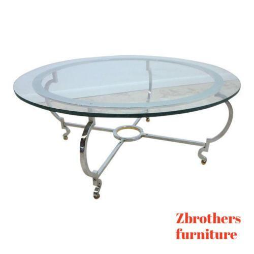 John Stuart chrome steel round coffee table spain mid century vintage regency