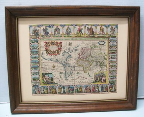 World Map by Jansson 1632  D.A.C Reproduction with Wood Frame Vintage