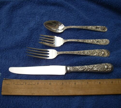 Kirk Sterling REPOUSSE Pattern 4 PC PLACE SETTING-Luncheon Size-French Blade