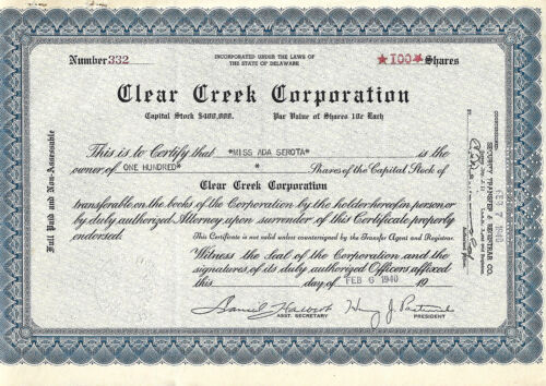 AN OLD AMERICAN COMPANY SHARES DOCUMENT 1940: