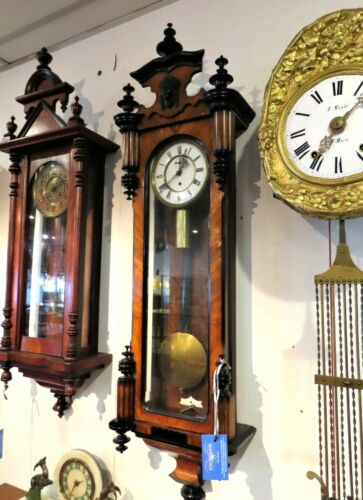 EXCEPTIONAL WALNUT HALF VIENNA WALL CLOCK. FULLY RESTORED AND RUNNING PERFECTLY.