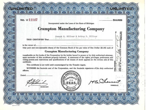 AN OLD AMERICAN COMPANY SHARES DOCUMENT 1955: