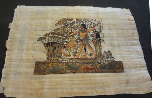 AUTHENTIC EGYPTIAN PAINTING ON PAPYRUS: a