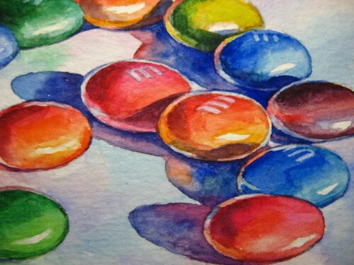 Watercolor Painting M&Ms Candy Sweet Food ACEO Art