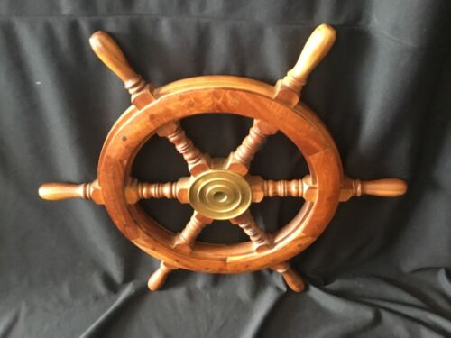 """24"""" Vintage or Antique Wooden Boat Ship's Wheel Nautical 6 Spoke Salvage"""