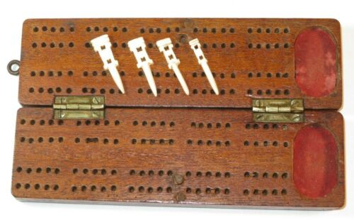 NICE 19TH CENTURY SAILOR'S COMPLETE TRAVELLING CRIBBAGE BOARD GAME BOX