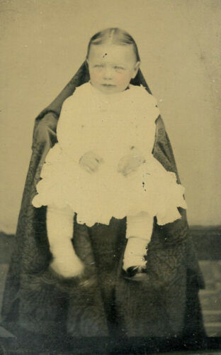 Antique Tintype Photo CUTE LITTLE BABY FASHION