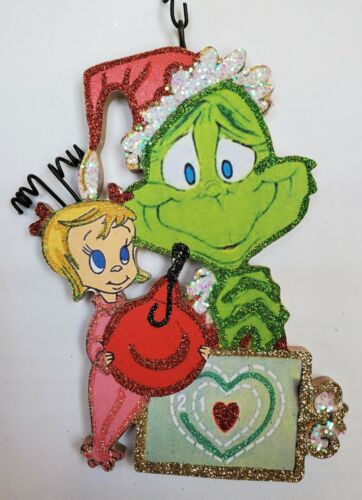 GRINCH, CINDY LOU WHO, HEART CHART  * Glitter CHRISTMAS ORNAMENT * Vtg Img