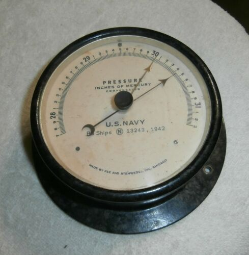 ANTIQUE  US NAVY FEE AND STEMWEDEL INC BAROMETER -5 INCH FACE - COMPENSATED