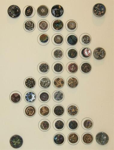 42 Ornate Unusual Tinted Glass Antique Picture Sewing Buttons Collector Card