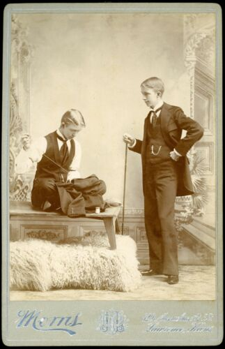 RARE 1880s Cabinet Card Photo of TWO TAILORS - One Sitting on Tailor's Table!