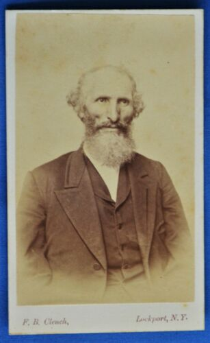 CDV Photo Old Man White Beard Clench Lockport New York NY1860s