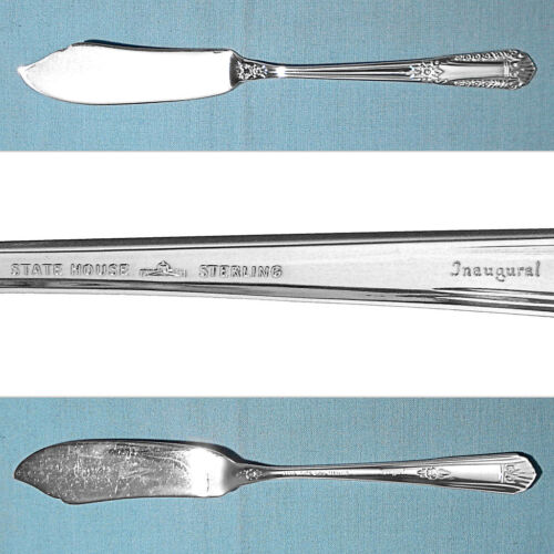 STATE HOUSE STERLING FLAT HANDLE MASTER BUTTER KNIFE ~ INAUGURAL ~ NO MONO