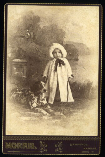 1880s Cabinet Card Photo of Small Child with Large Dalmatian Dog Lawrence Kansas