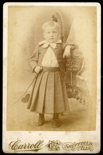 1880s Cabinet Card Photo Well Dressed Young Boy with Stick Carrol Sheffield ILL