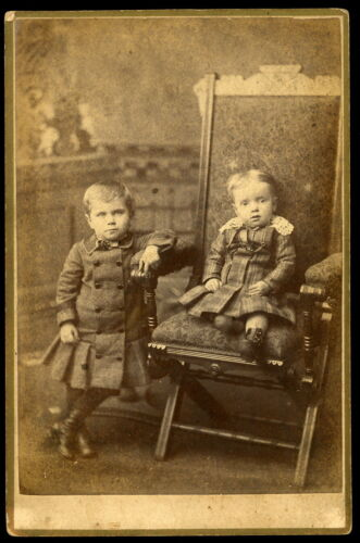 1880s Cabinet Card Photo Well Dressed Very Young Brothers Carrol Sheffield ILL
