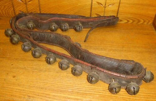 "ROUGH Antique 66"" Leather Sleigh Bells Strap"